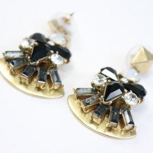 J. Crew Jeweled Gold Earrings